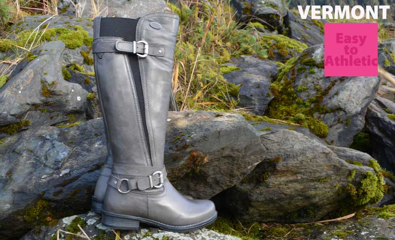 A grey boot stretches to fit easy to athletic calves at Shoefly Alaska