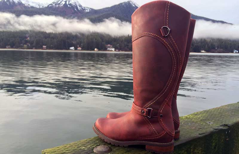 Red boots are a must for long, dark Southeast Alaska winters. Find them at Shoefly Alaska.