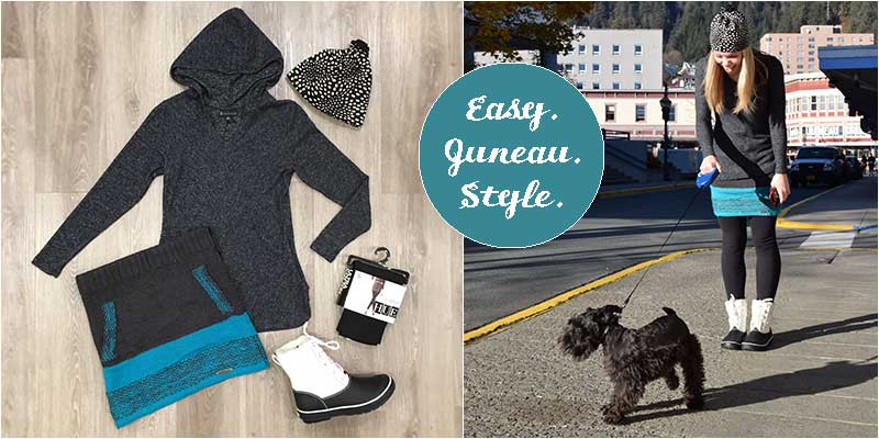 Sweater skirts, waterproof boots, winter tights and a super soft hooded sweater are perfect for cold Juneau days.